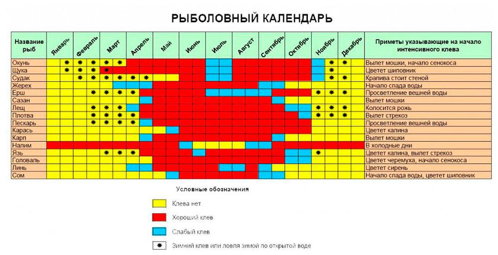 Календарь клева